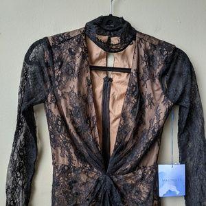 MAJORELLE Dresses - MAJORELLE Callisto Lace Collar Black Maxi Dress